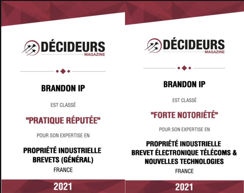Brandon IP reconnu par Décideurs Magazine !